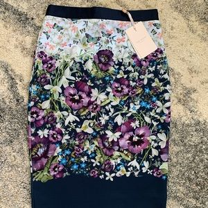 NWT Ted Baker Straight pencil floral skirt